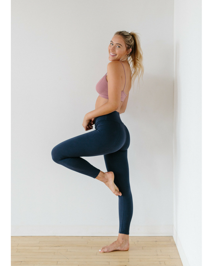 High Waist Organic Cotton Legging - Ink Blue