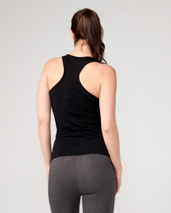 Organic Cotton Racerback Tank Top - Black