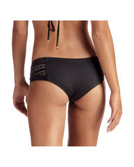 Symmetry Black Mesh Boyshort Bikini Bottoms
