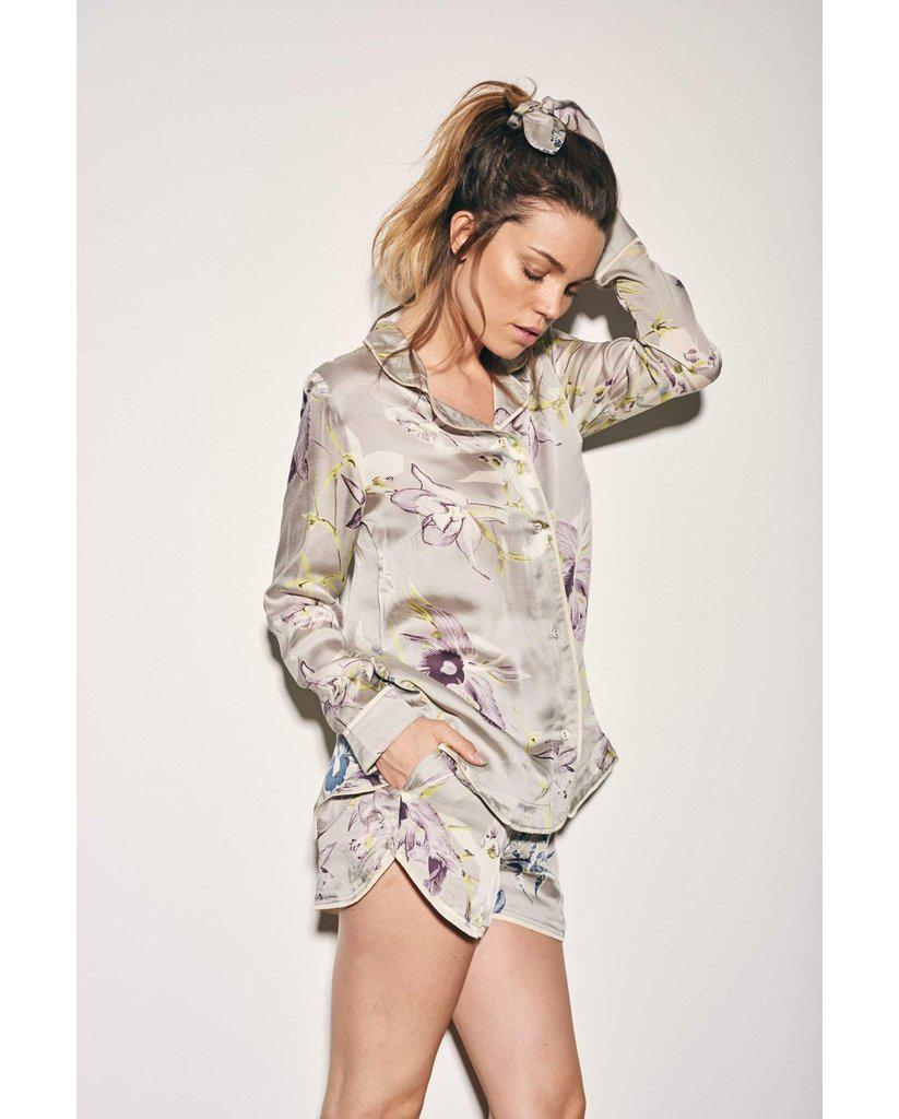 Bamboo Satin Grey Floral Long Sleeve & Shorty PJ Set