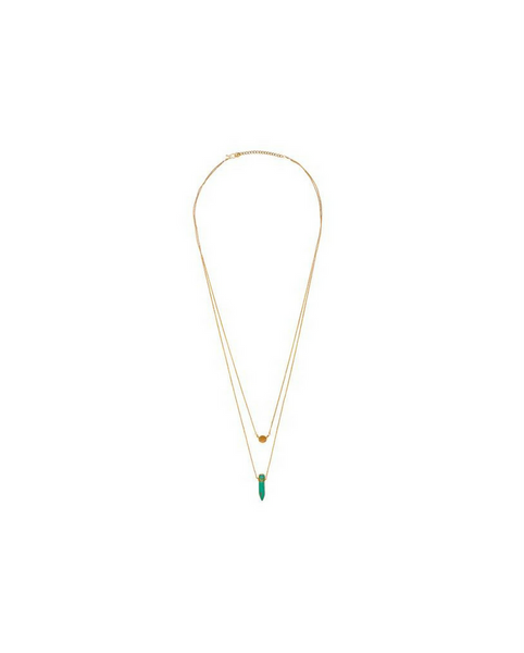 Wander Brass Coin & Turquoise Stone Pendant Necklace