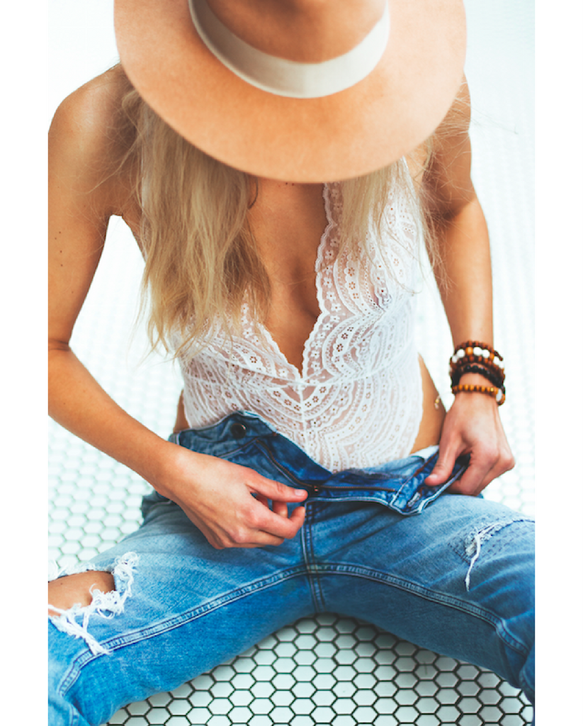 Lucette White Lace Bodysuit - ALMOST GONE!