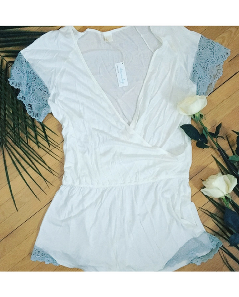 Antique White/Silver Romper - Only 1 L Left!