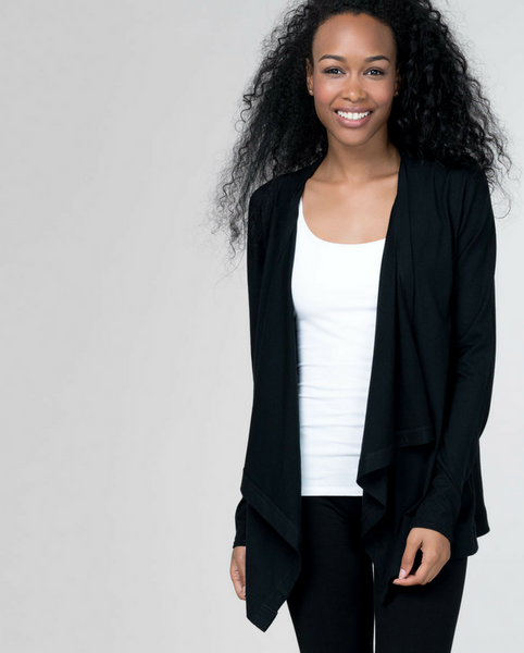 Organic Cotton Cardigan - Black