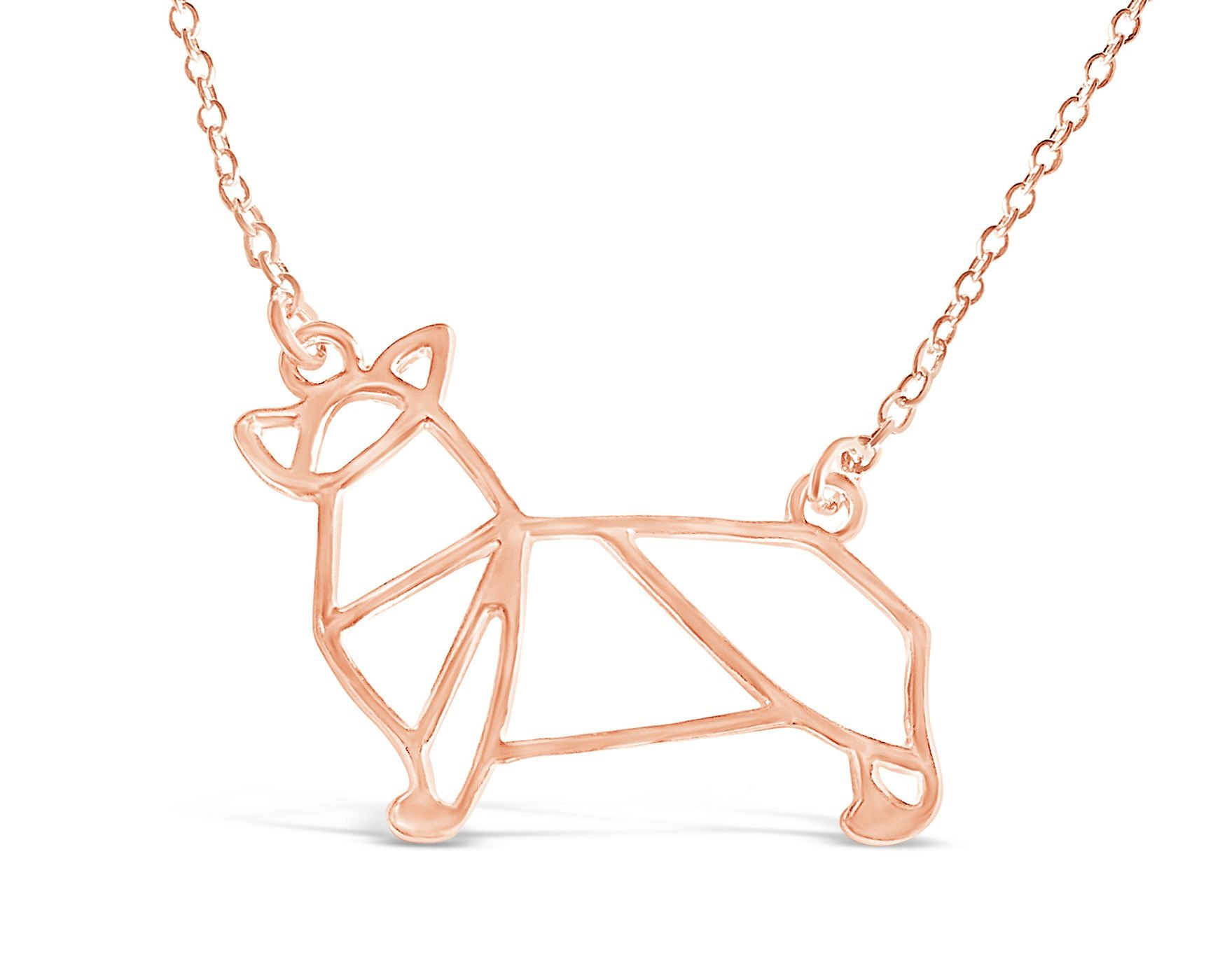 Buy welsh corgi inspired pendant necklace rosa vila minimalist welsh corgi inspired origami pendant necklace rosa vila boutique mozeypictures Image collections