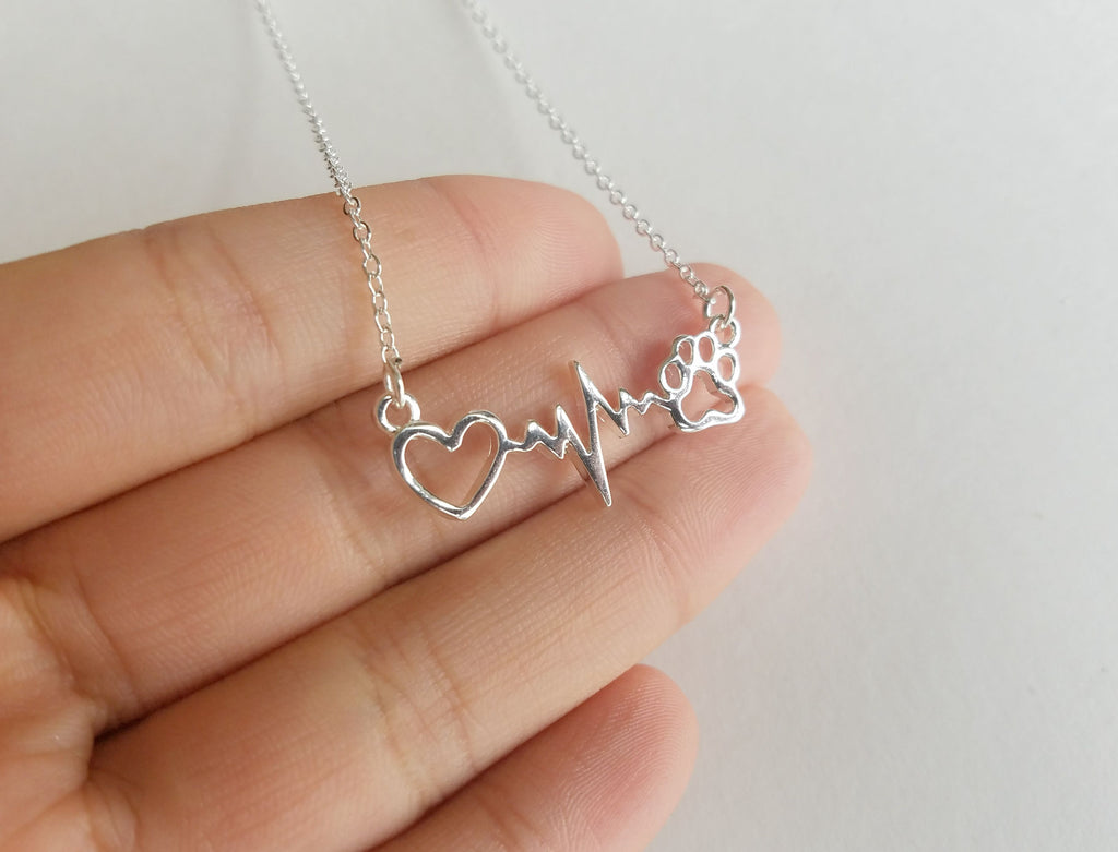 Dog Paw Print With Heartbeat Necklace For Women - Rosa Vila