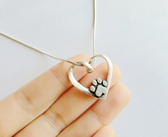 Heart Shape With Dog Paw Necklace-Rosa Vila Boutique