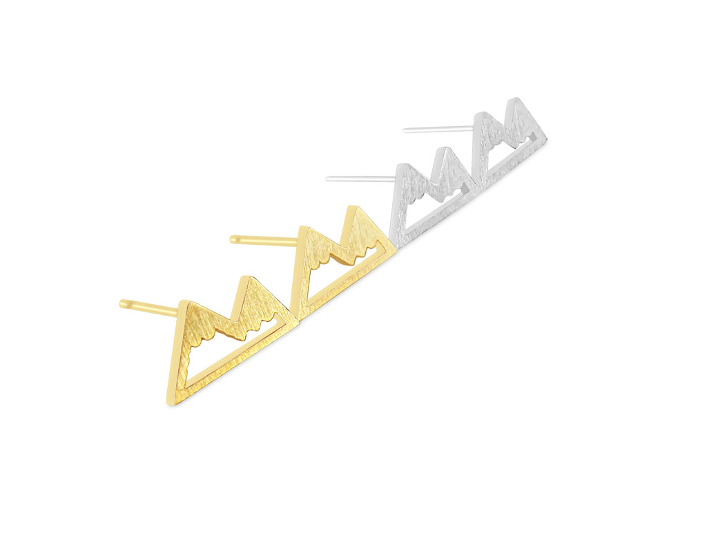 Earrings - Mountain Earrings - Gold & Silver