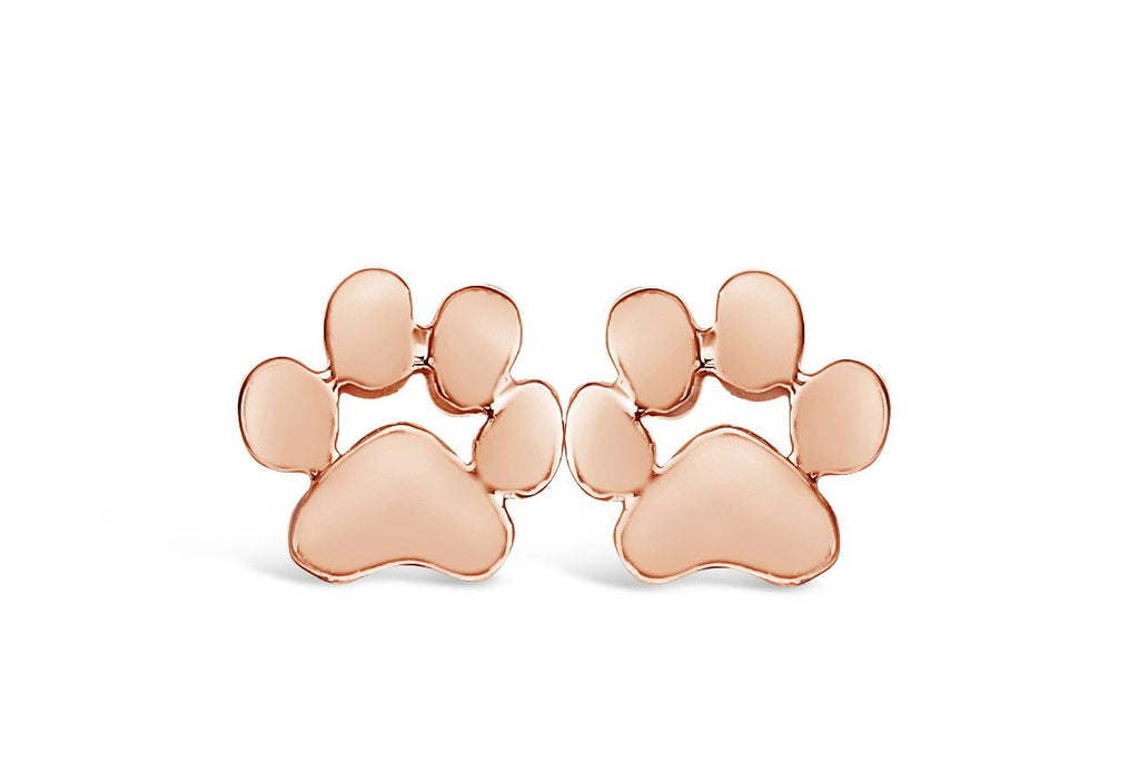 Rose Gold Dog Paw Print Stud Earrings-Rosa Vila Boutique