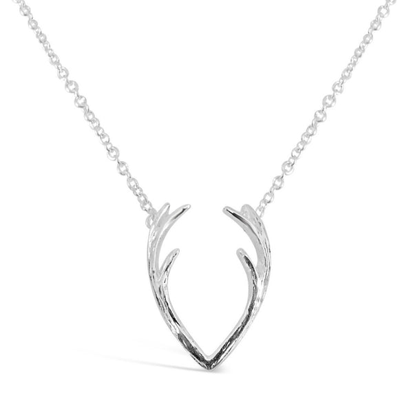 Necklace - Antler Necklace - Silver & Gold - Deer Antlers Horn Pendant Necklace