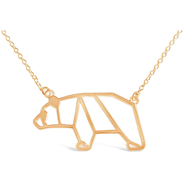 Necklace - Bear Necklace - Honey Bear Origami Inspired Animal Pendant Necklace
