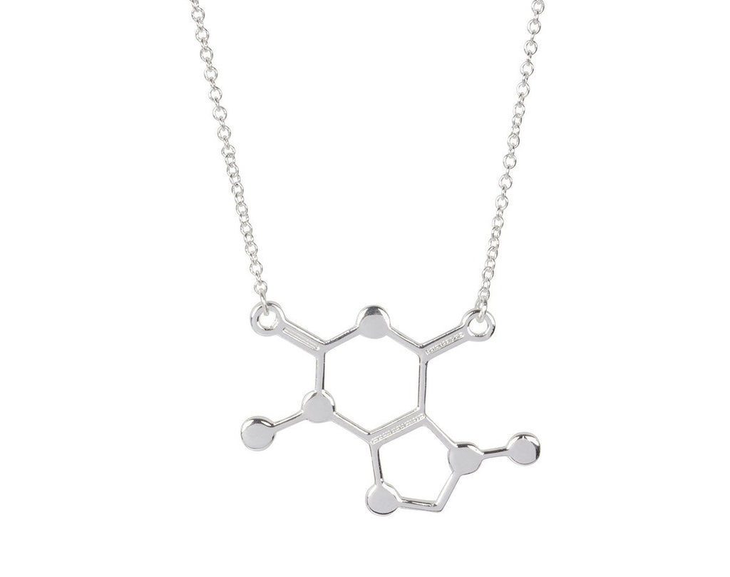Silver Caffeine Chemical Molecule Necklace-Rosa Vila Boutique