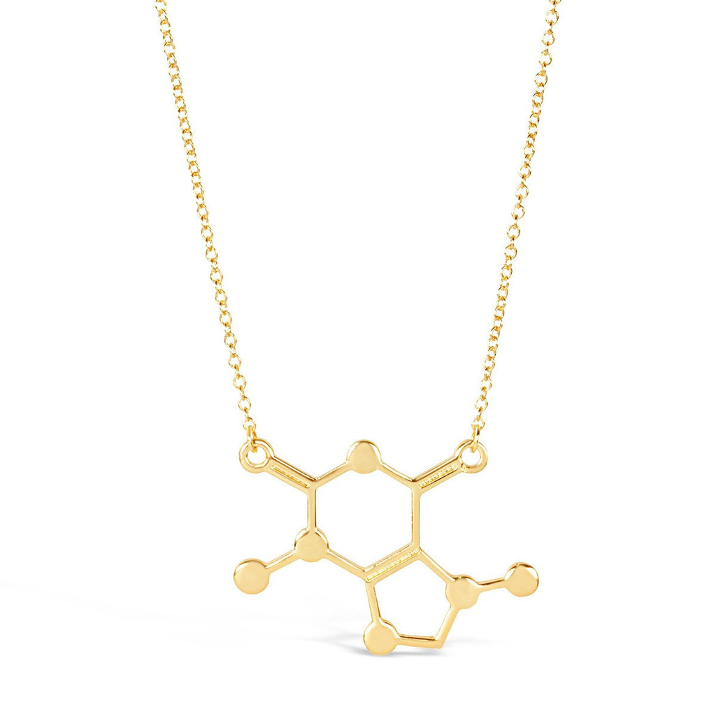 Necklace - Caffeine Molecule Necklace - Chemical Structure Science DNA Pendant Necklace