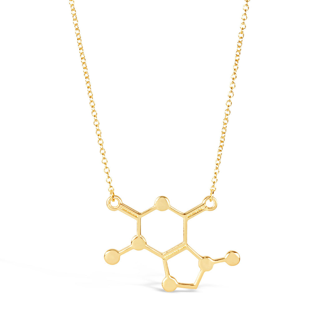 Silver Caffeine chemical Molecule Necklace for Coffee Lovers - Rosa Vila