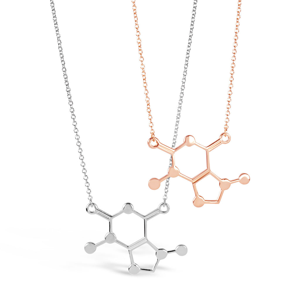 Necklace - Coffee DNA Caffeine Molecule Necklace - Gold & Silver - Unique Science DNA Pendant Necklace