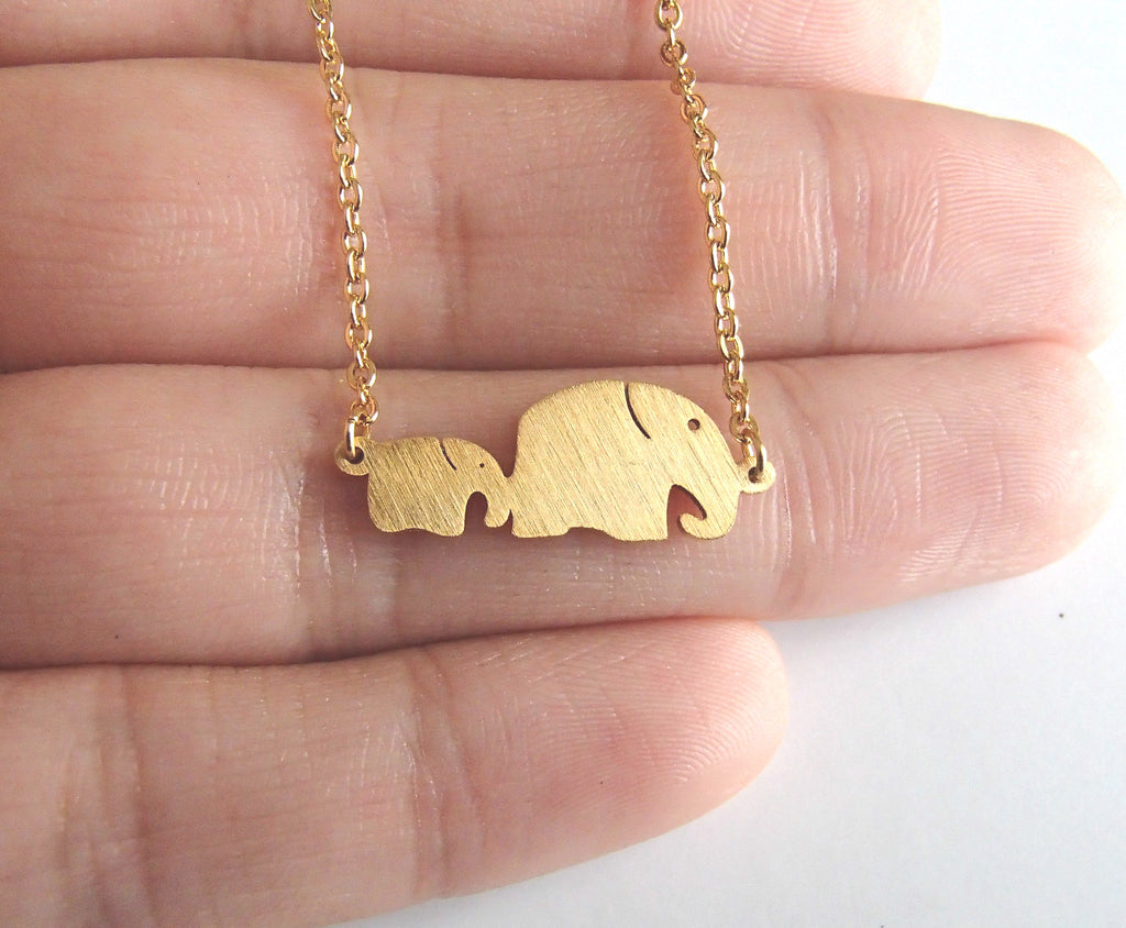 Minimalist Mom and Baby Elephant Animal Necklace - Rosa Vila