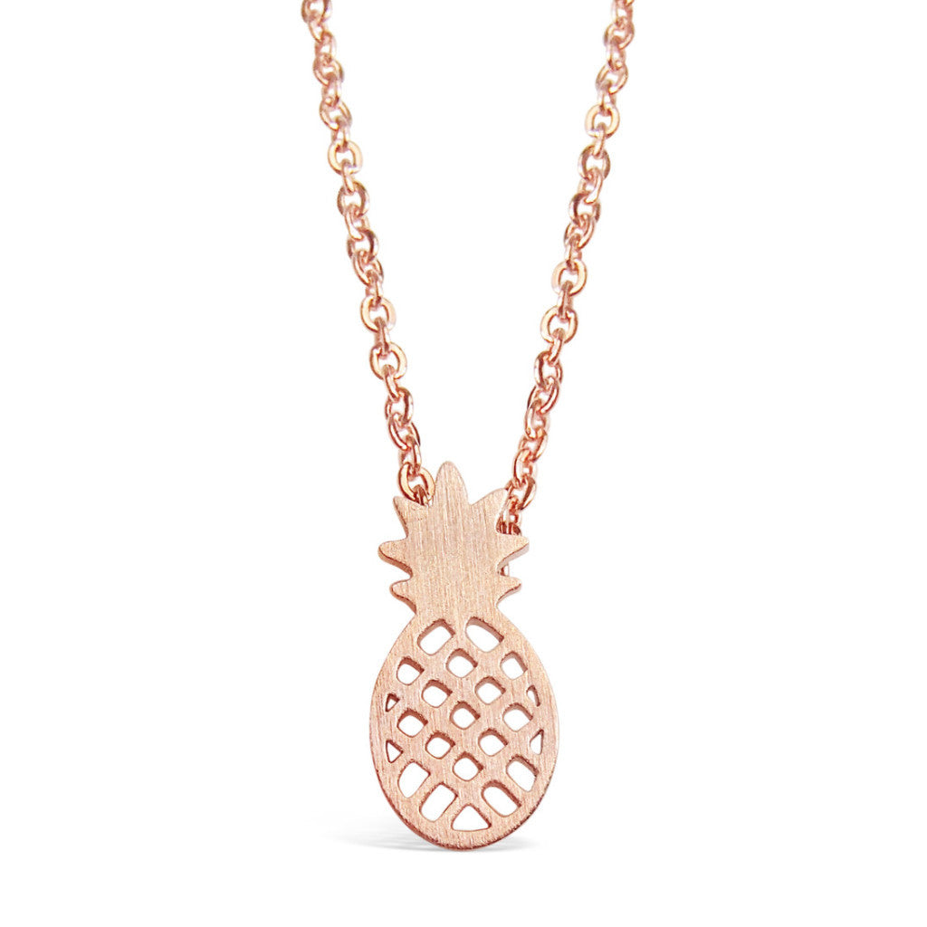Necklace - Dainty Pineapple Necklace - Gold, Rose Gold & Silver