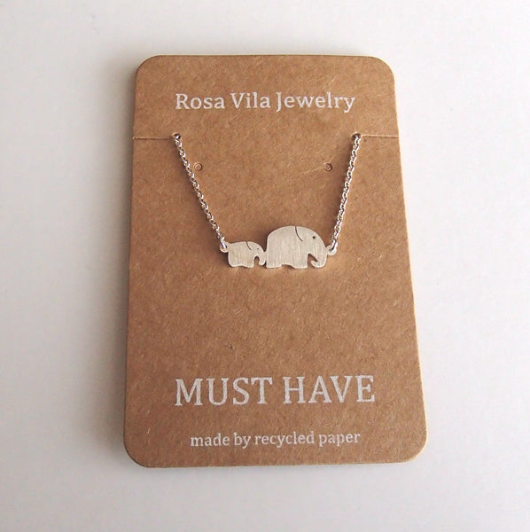 Necklace - Elephant Necklace Mom And Baby Elephant Pendant Necklace Silver Tone Thai Elephant