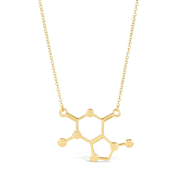 Necklace - Gold Caffeine Molecule Necklace - Unique Science DNA Pendant Necklace For Coffee Lovers