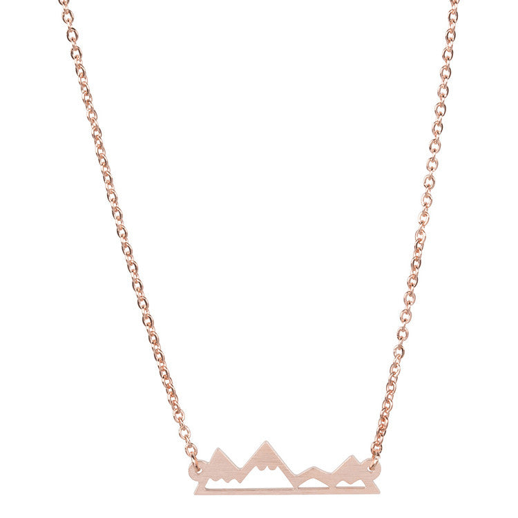 Necklace - Gold Mountain Top Necklace For Mountain Lovers, Hikers And Skiers