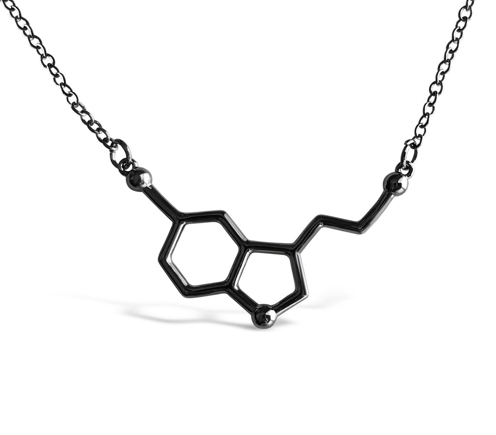 Black - Happiness Molecule / Serotonin Molecule Necklace