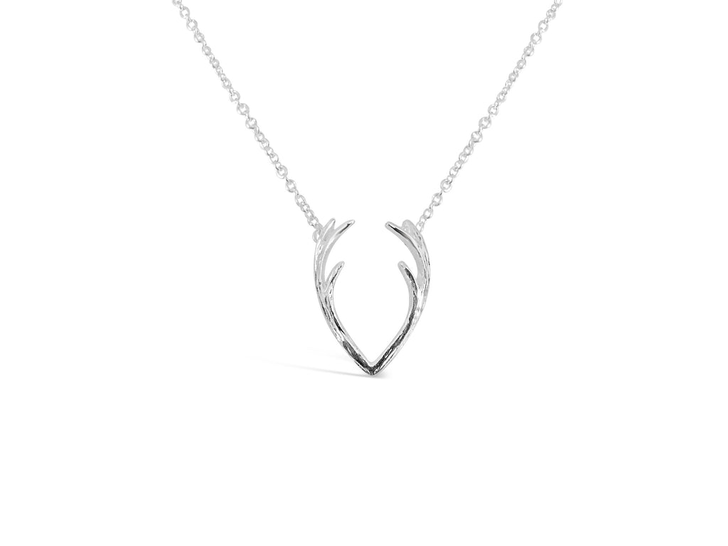 Necklace - Holiday Antler Necklace - Silver & Gold - Deer Antlers Horn Pendant Necklace