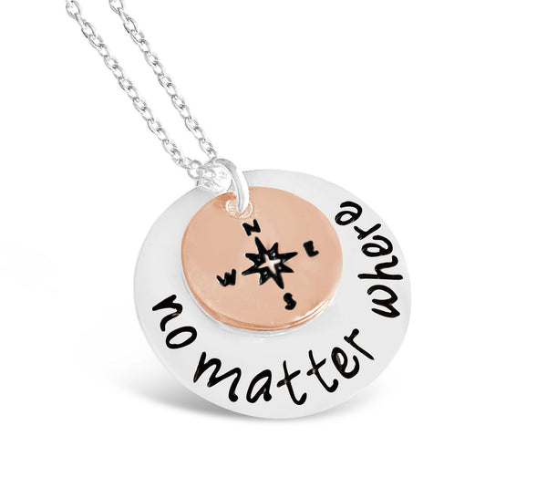 Necklace - No Matter Where Compass Necklace - Direction Of Life & I'd Be Lost Without You