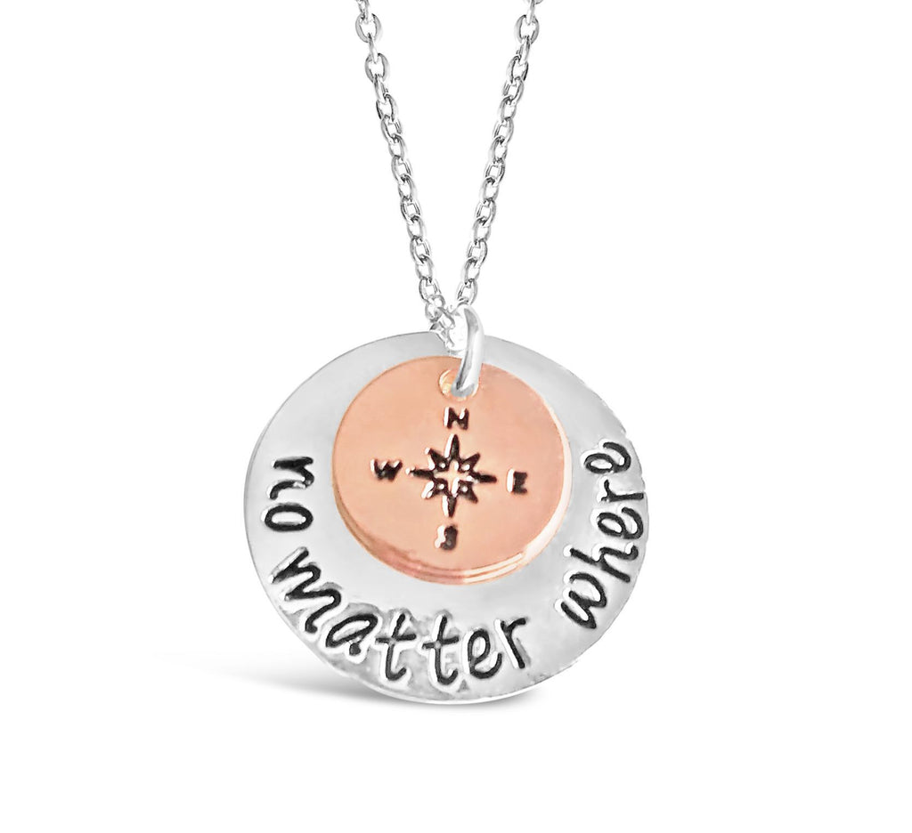 No Matter Where Compass Necklace Backpackers & Travelers-Rosa Vila Boutique