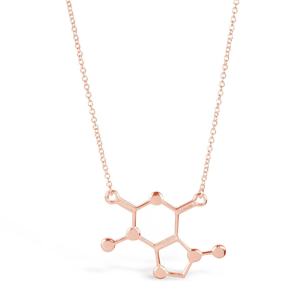 Rose Gold Caffeine chemical Molecule Necklace for Coffee Lovers - Rosa Vila
