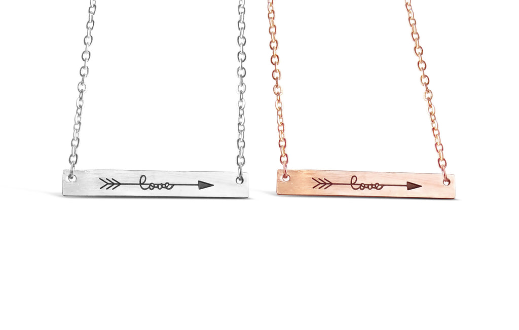Necklace - Rose Gold Cubic Love Arrow Minimalist Bar Necklace - Gold, Rose Gold & Silver