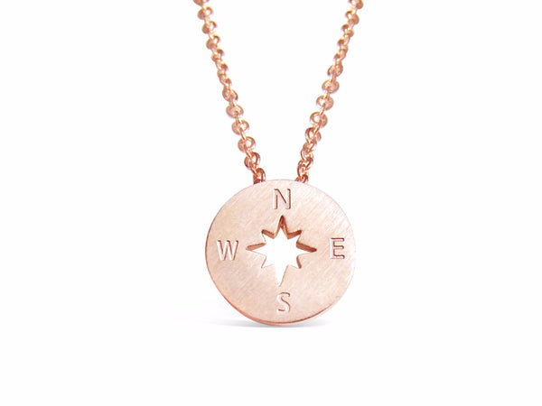 Necklace - Rose Gold Everyday Compass Necklace - Direction Of Life & I'd Be Lost Without You