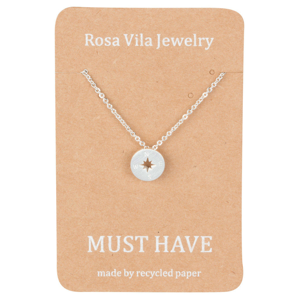 Rose Gold Compass Necklace Backpackers & Travelers - Rosa Vila