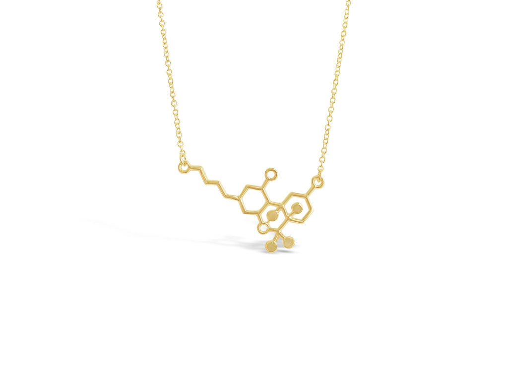 Rose Gold THC Molecule Necklace - Rosa Vila