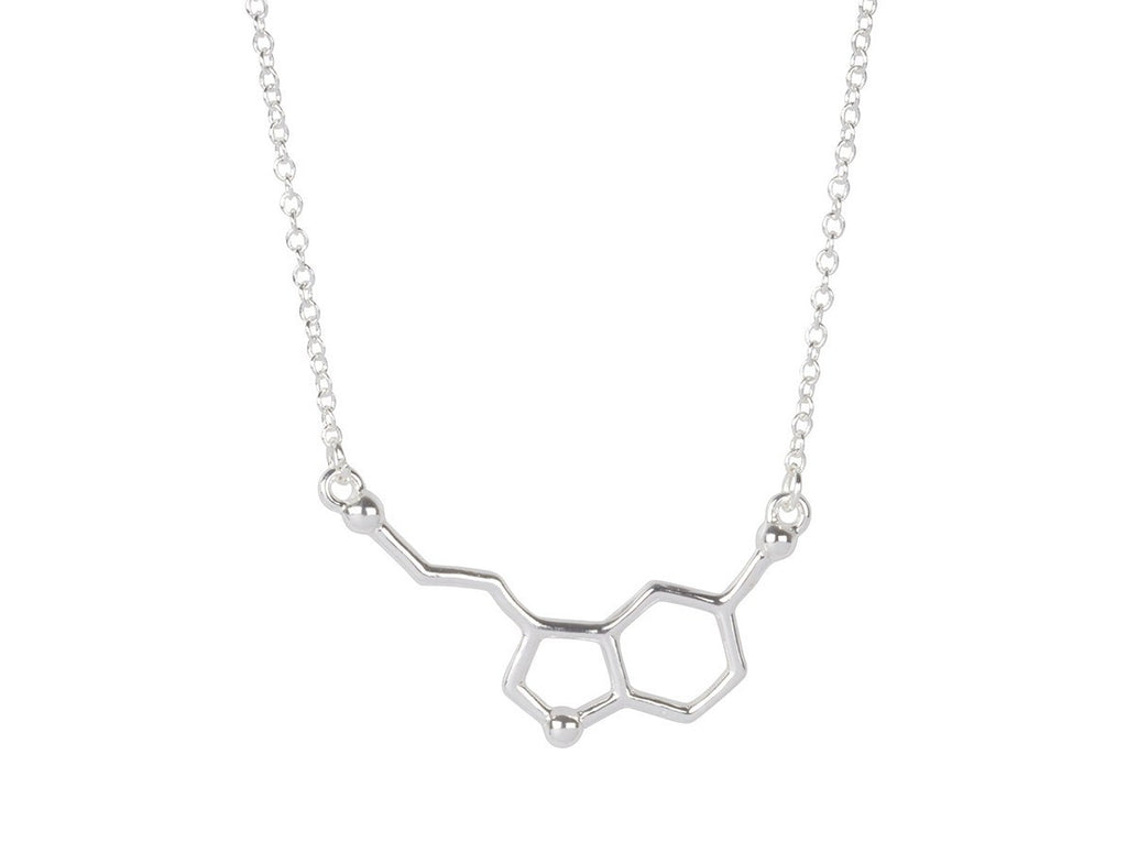 Necklace - Serotonin Molecule Necklace For Science Lovers - Chemical Structure Necklace For Happiness And Well-being