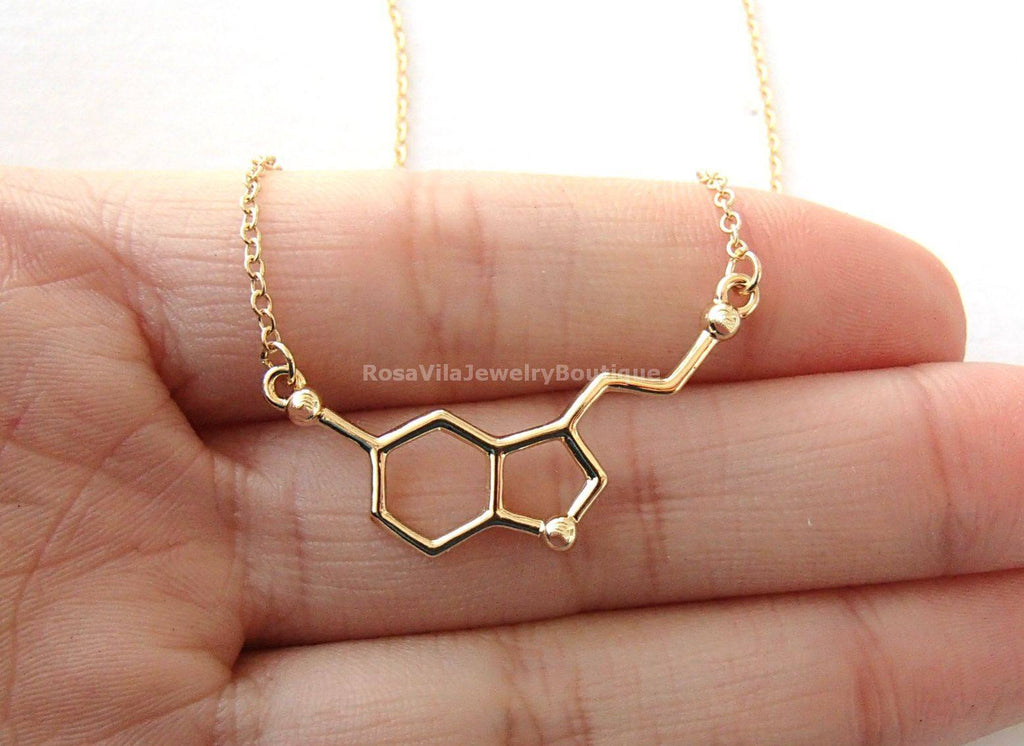Serotonin Molecule Necklace - Science DNA Necklace for Happiness and Well-being-Rosa Vila Boutique