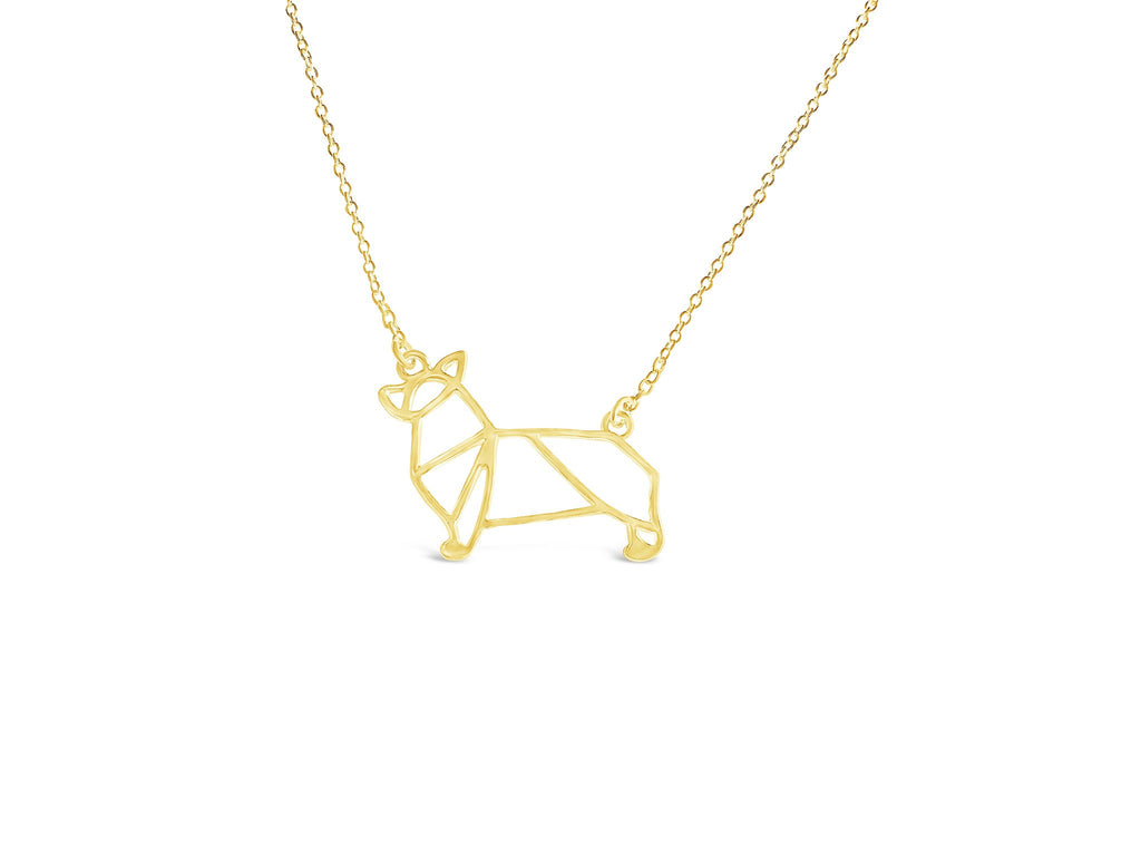 Necklace - Silver Corgi Dog Necklace - Corgi Origami Inspired Puppy Necklace