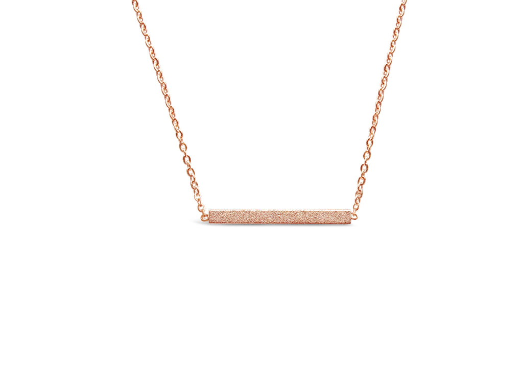 Necklace - Silver Minimalist Bar Necklace - Gold, Rose Gold & Silver