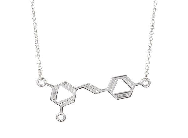 Necklace - Silver Wine Molecule Necklace - Unique Science DNA Pendant Necklace For Wine Lovers
