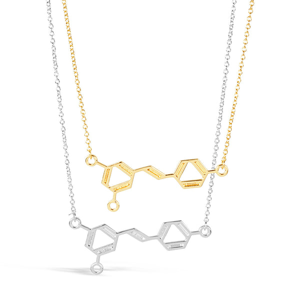 Necklace - Wine DNA Molecule Necklace - Gold & Silver - Science DNA Pendant Necklace For Wine Lovers