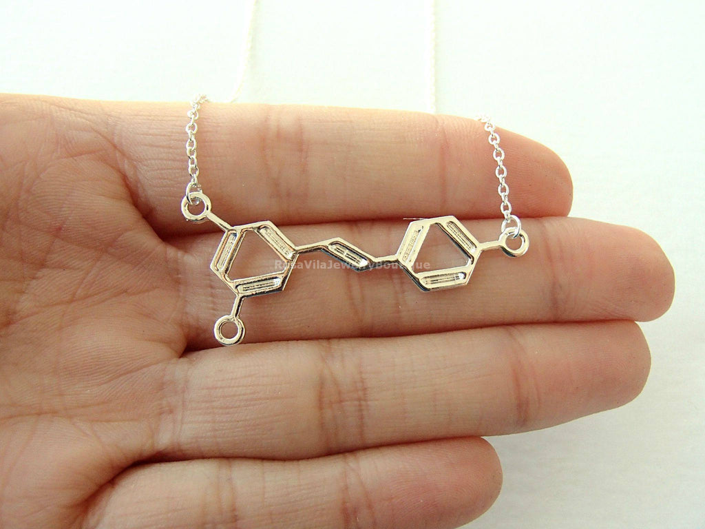 Silver Wine Molecule Necklace-Rosa Vila Boutique