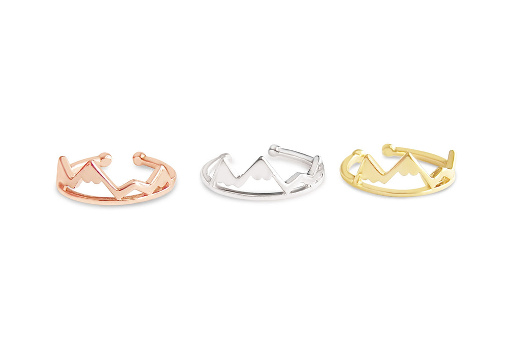 Finger ring in gold, silver and rose gold colors