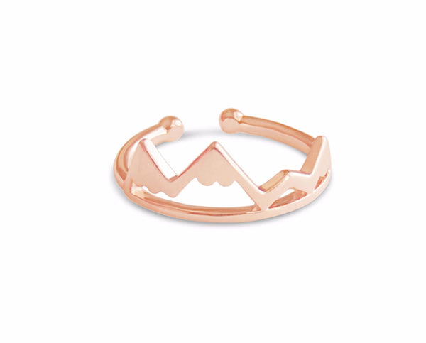 Ring - Rose Gold Mountain Top Ring - Gold, Rose Gold And Silver