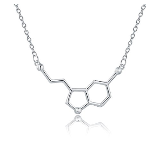 Sterling Silver Happiness Serotonin Molecule Necklace-Rosa Vila Boutique