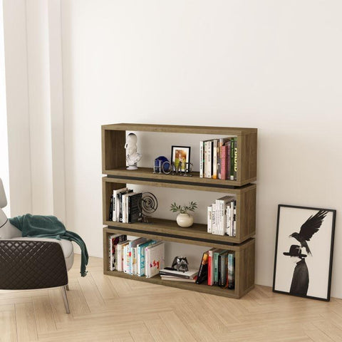 Pinto Office Bookcase - Dark Oak/Black
