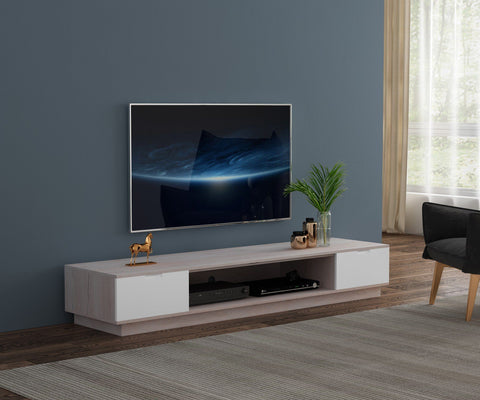 Rio Lowline TV Cabinet - Oak with White/Grey (2200W x 550D x 360H)