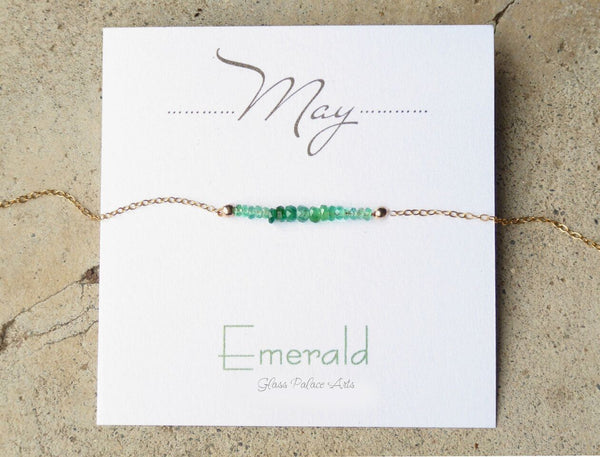 May Birthstone Necklace - Dainty Emerald Necklace