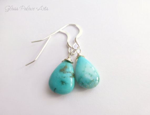 Sleeping Beauty Turquoise Earrings - Genuine Turquoise Teardrop Earrings