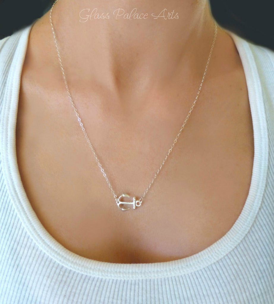 Small Anchor Necklace - Sideways Anchor Necklace - Nautical Jewelry Gold or Sterling Silver