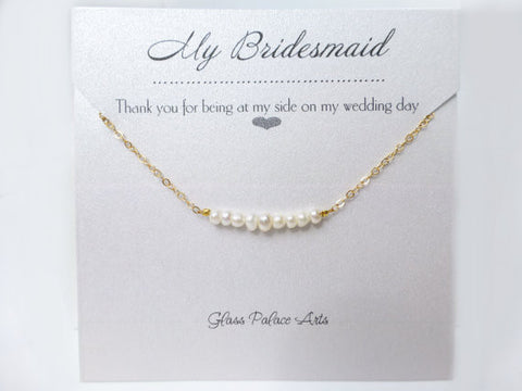 Dainty Freshwater Pearl Strand Necklace For Bridesmaids