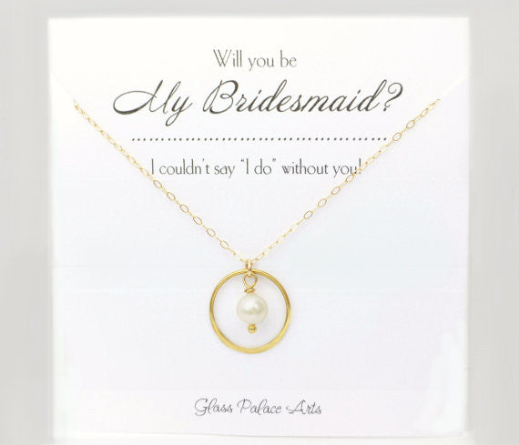 Will You Be My Bridesmaid Gift - Bridesmaids Pearl Necklaces